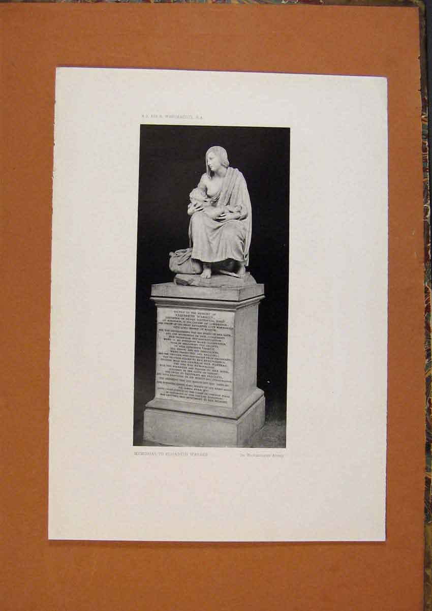 Print C1880 Memorial To Elizabeth Warren Art 038991 Old Original
