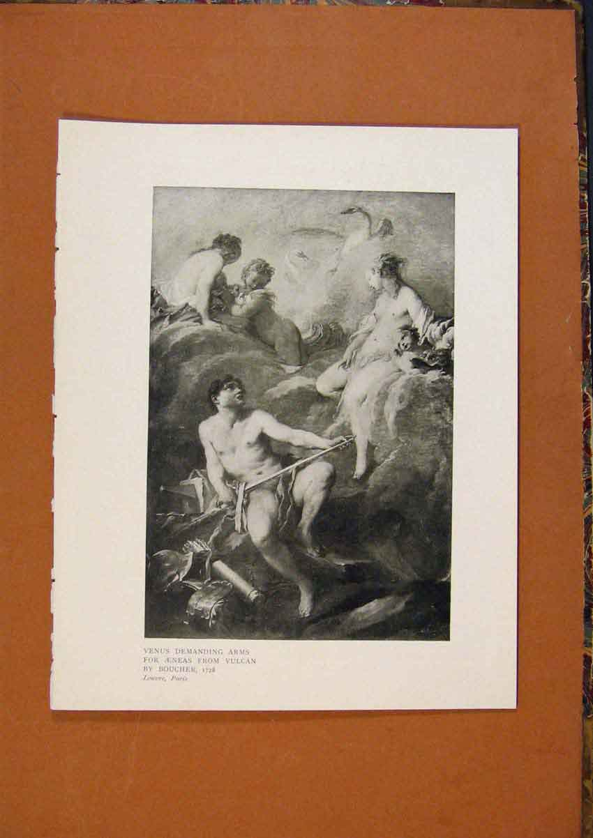 Print Connoisseur 1902-1909 Venus Demanding Arms By Boucher 078991 Old Original