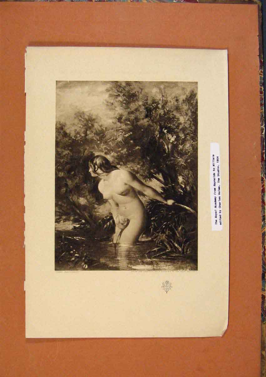 Print C1880 The Bather Fine Art Portrait Lady 288991 Old Original