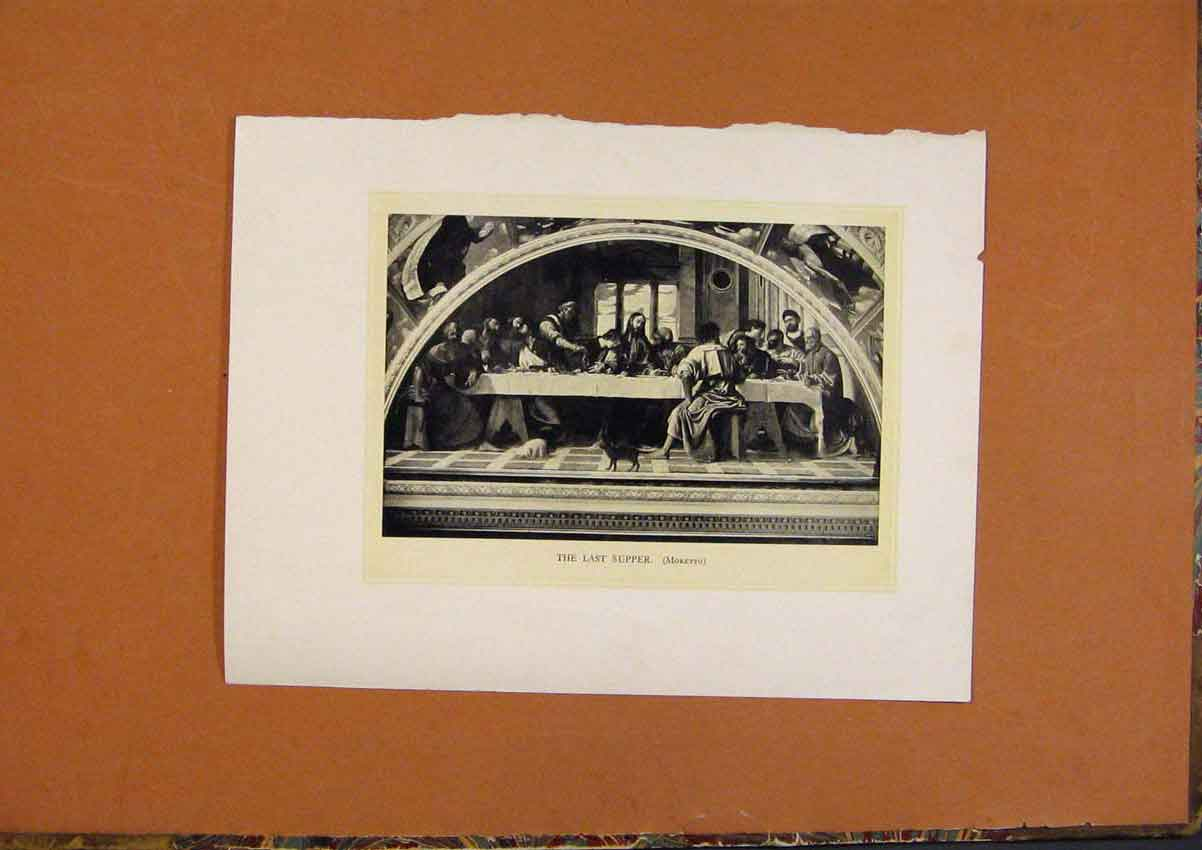 Print C1880 The Last Supper Religious Fine Art 468991 Old Original