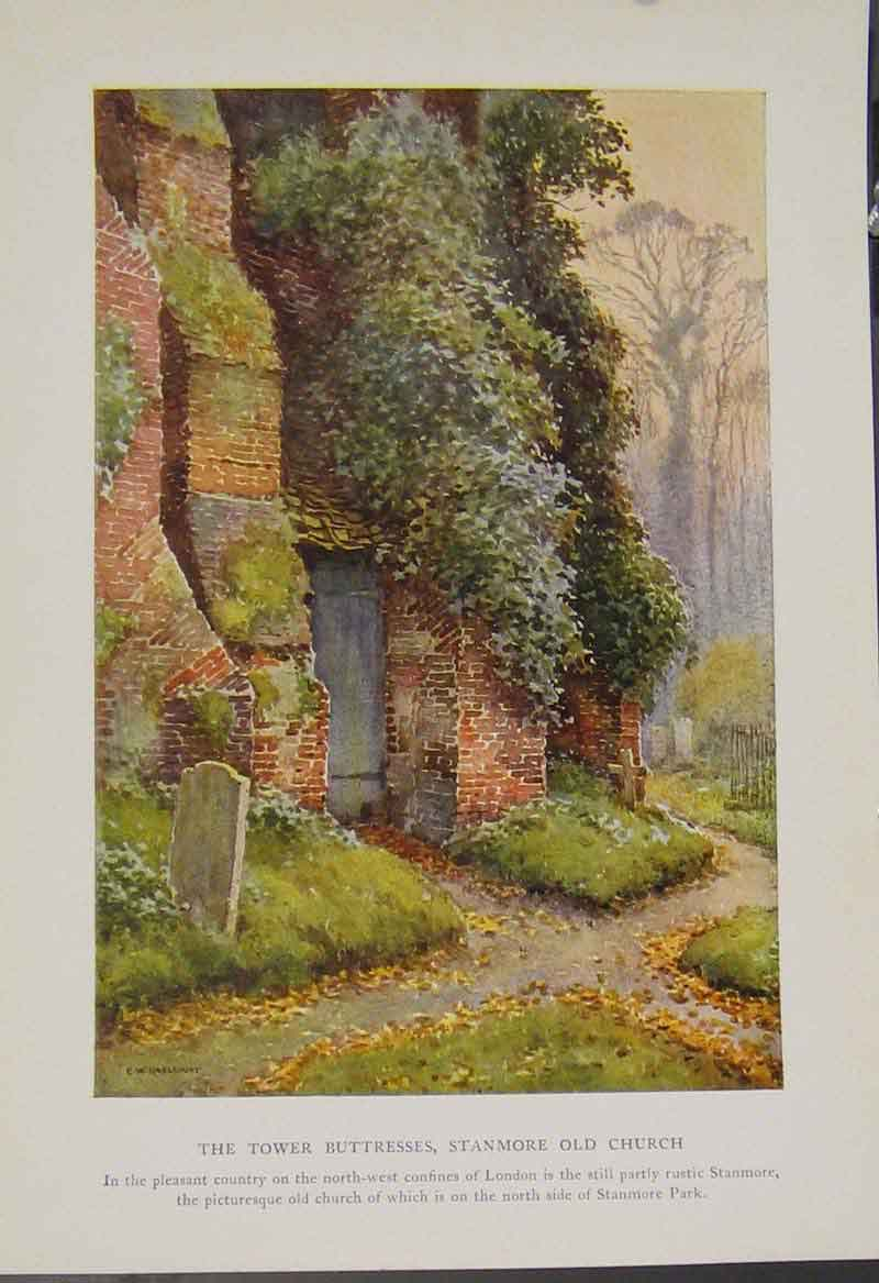 Print Painting By Haslehust Tower Tuttresses Stanmore Church 159331 Old Original
