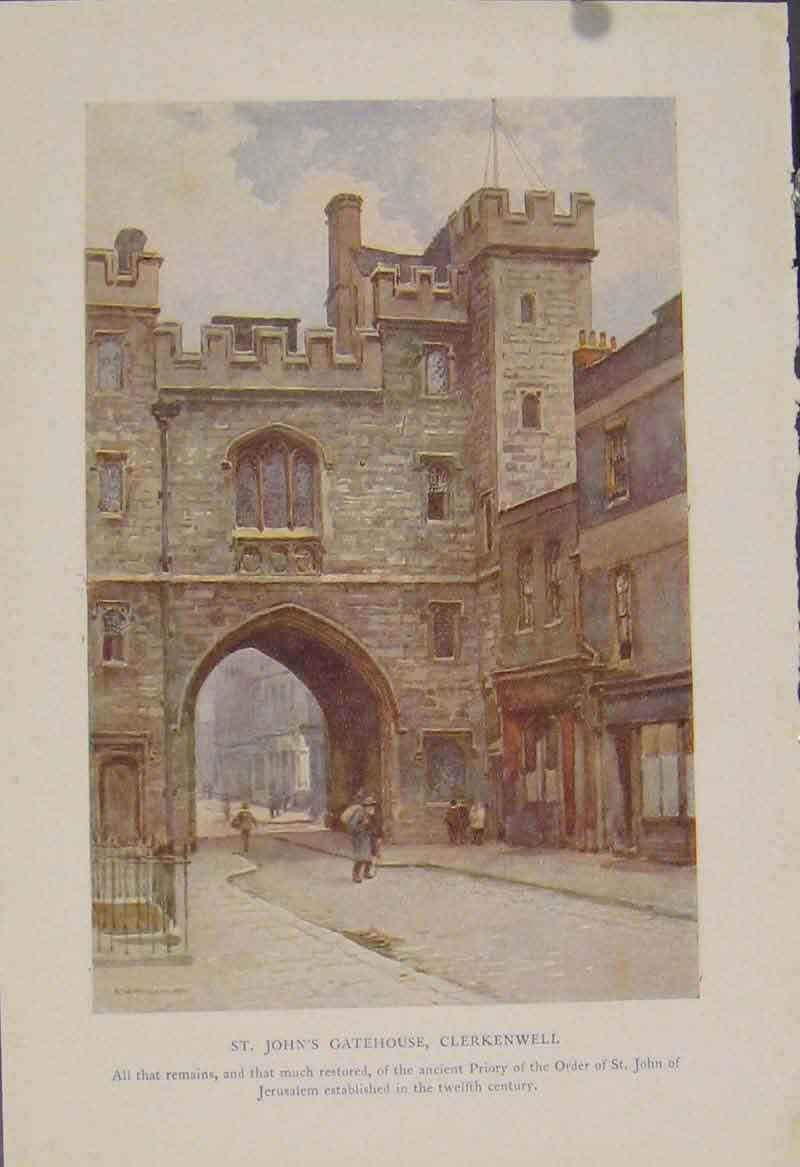 Print Painting By Haslehust St Johns Gatehouse Clerkenwell 329331 Old Original