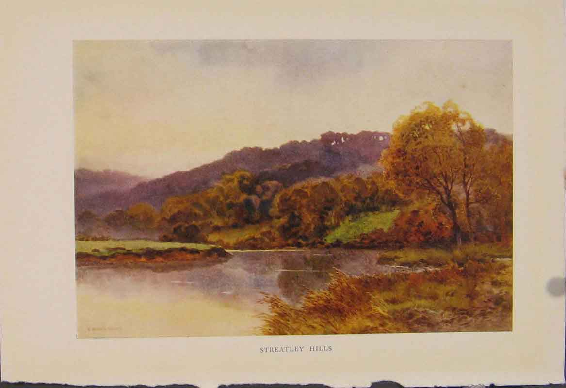 Print Painting By Haslehust Streatley Hills 479331 Old Original