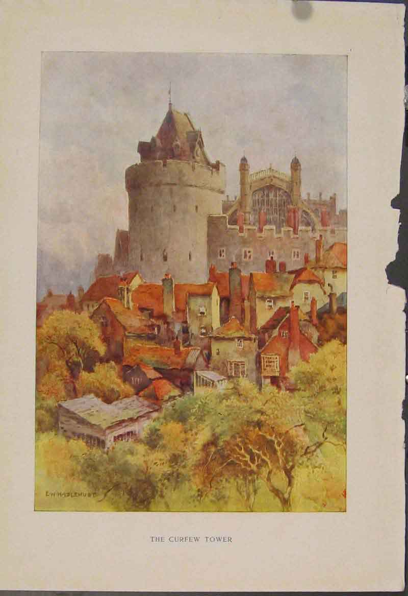 Print Painting By Haslehust Curlew Tower English Country 499331 Old Original
