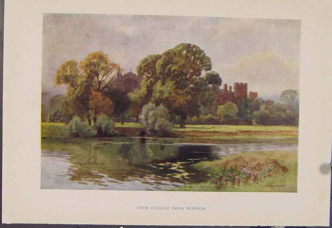 Print Painting By Haslehust Eton College From Windsor 509331 Old Original