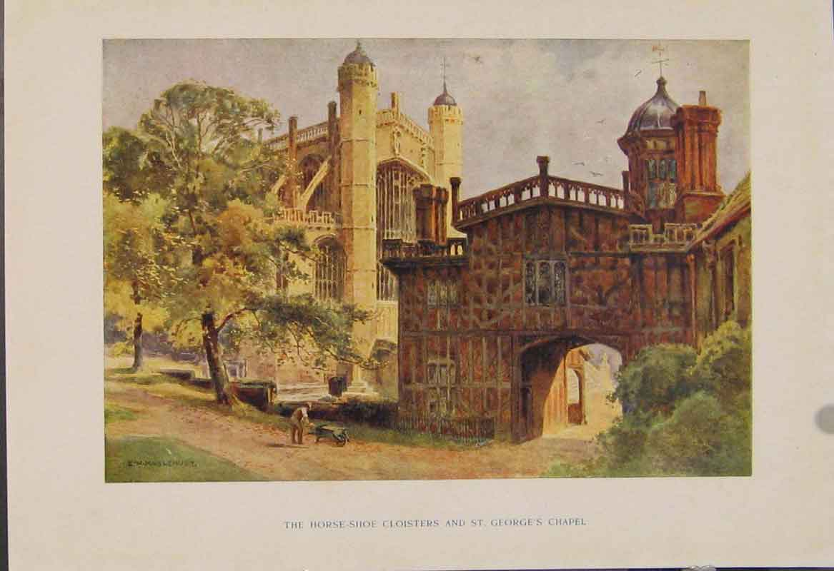 Print Painting By Haslehust Horseside Cloisters St Georges 529331 Old Original