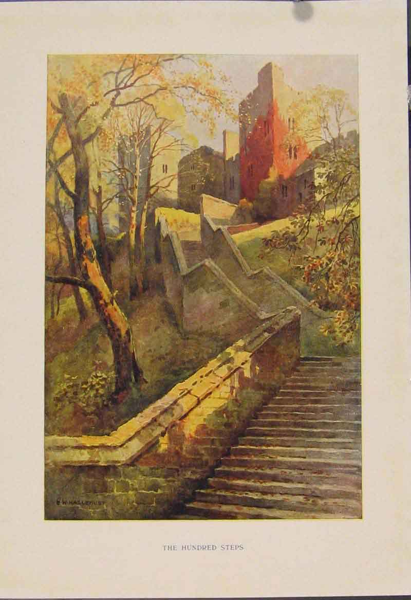 Print Painting By Haslehust Hundred Steps 549331 Old Original