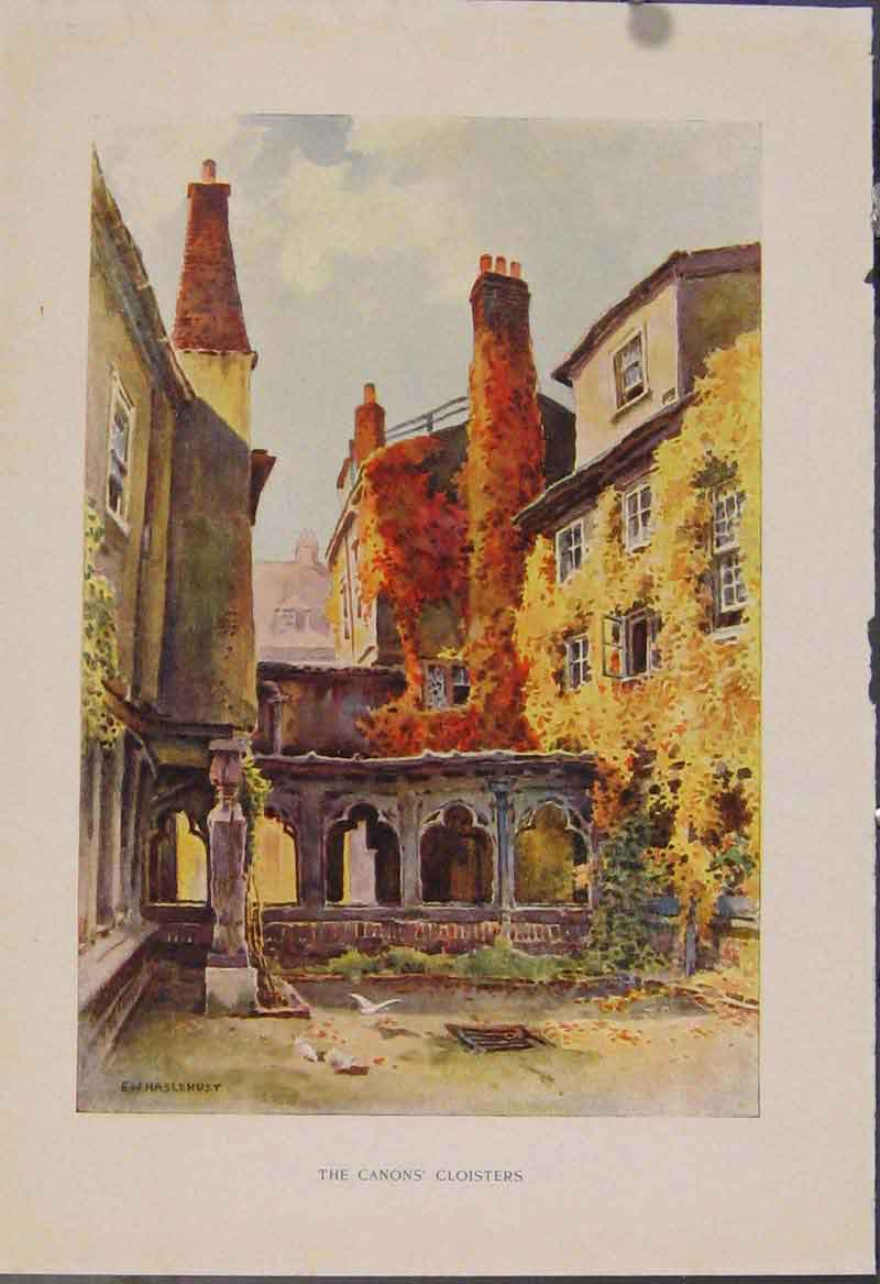 Print Painting By Haslehust Canons Cloisters 569331 Old Original