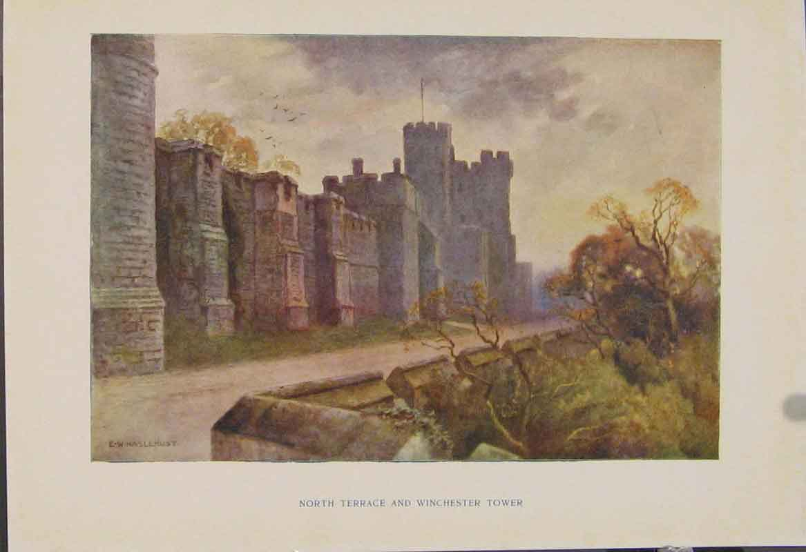 Print Painting By Haslehust Northterrace Winchester Tower 589331 Old Original