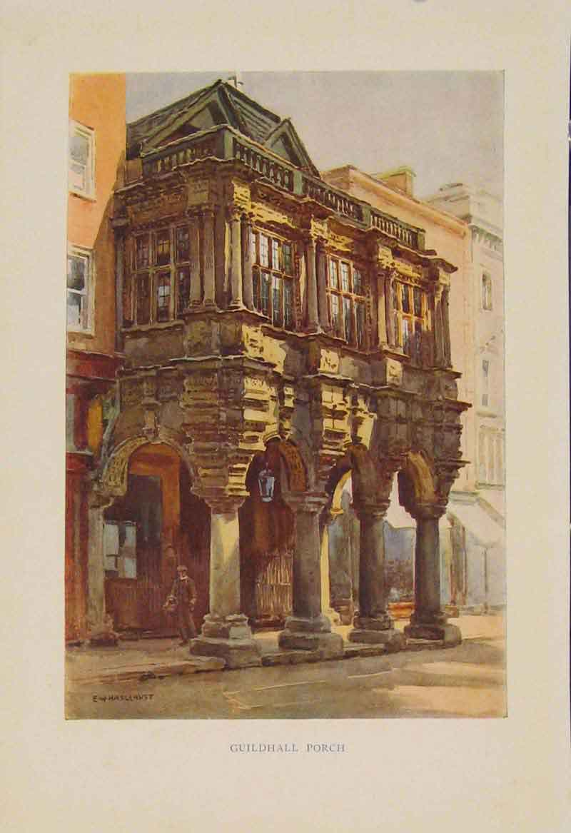 Print Painting By Haslehust Guildhall Porch English Country 249331 Old Original