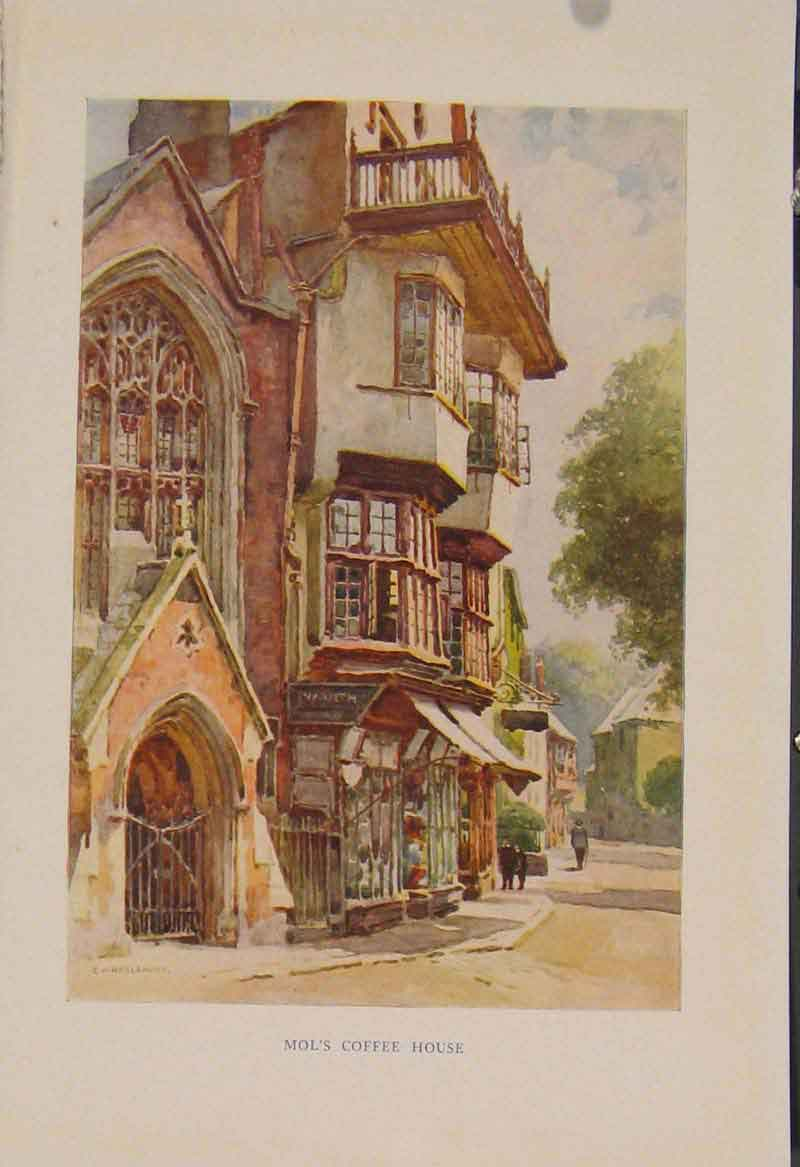 Print Painting By Haslehust Mols Coffee House 259331 Old Original