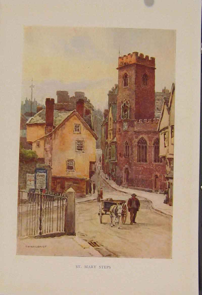 Print Painting By Haslehust St Marys Steps 279331 Old Original