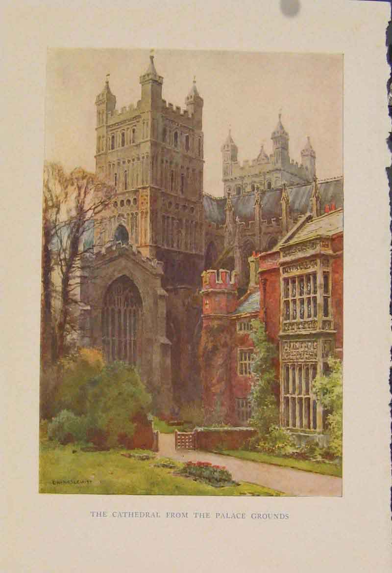 Print Painting By Haslehust Cathedral From Palace Grounds 289331 Old Original