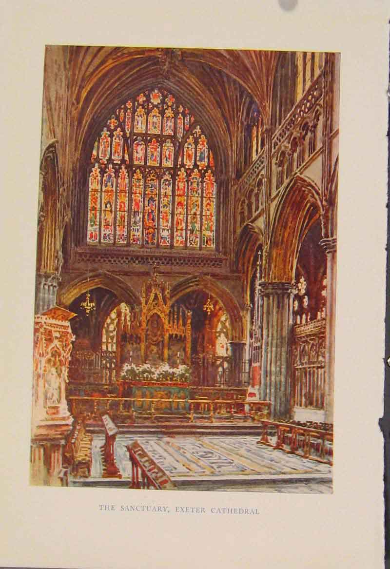 Print Painting By Haslehust Sancturary Exter Cathedral 299331 Old Original