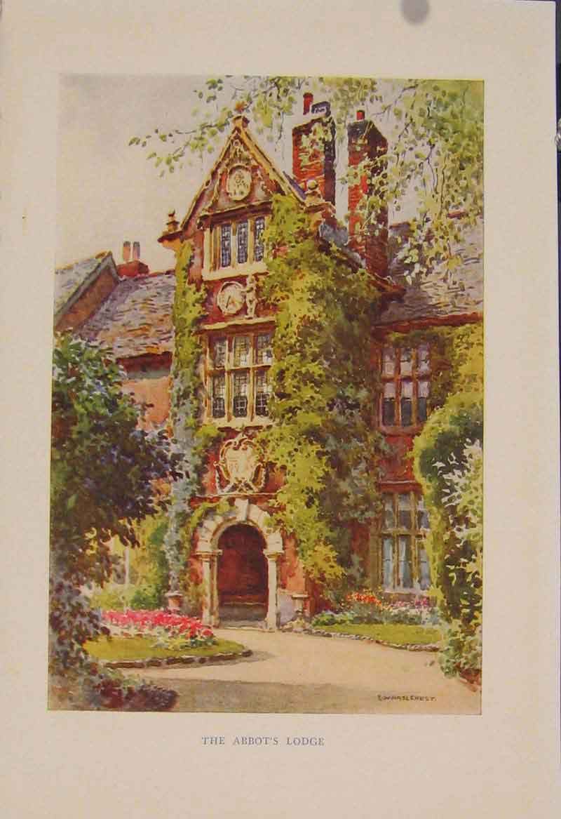 Print Painting By Haslehust Abbots Lodge English Country Art 319331 Old Original