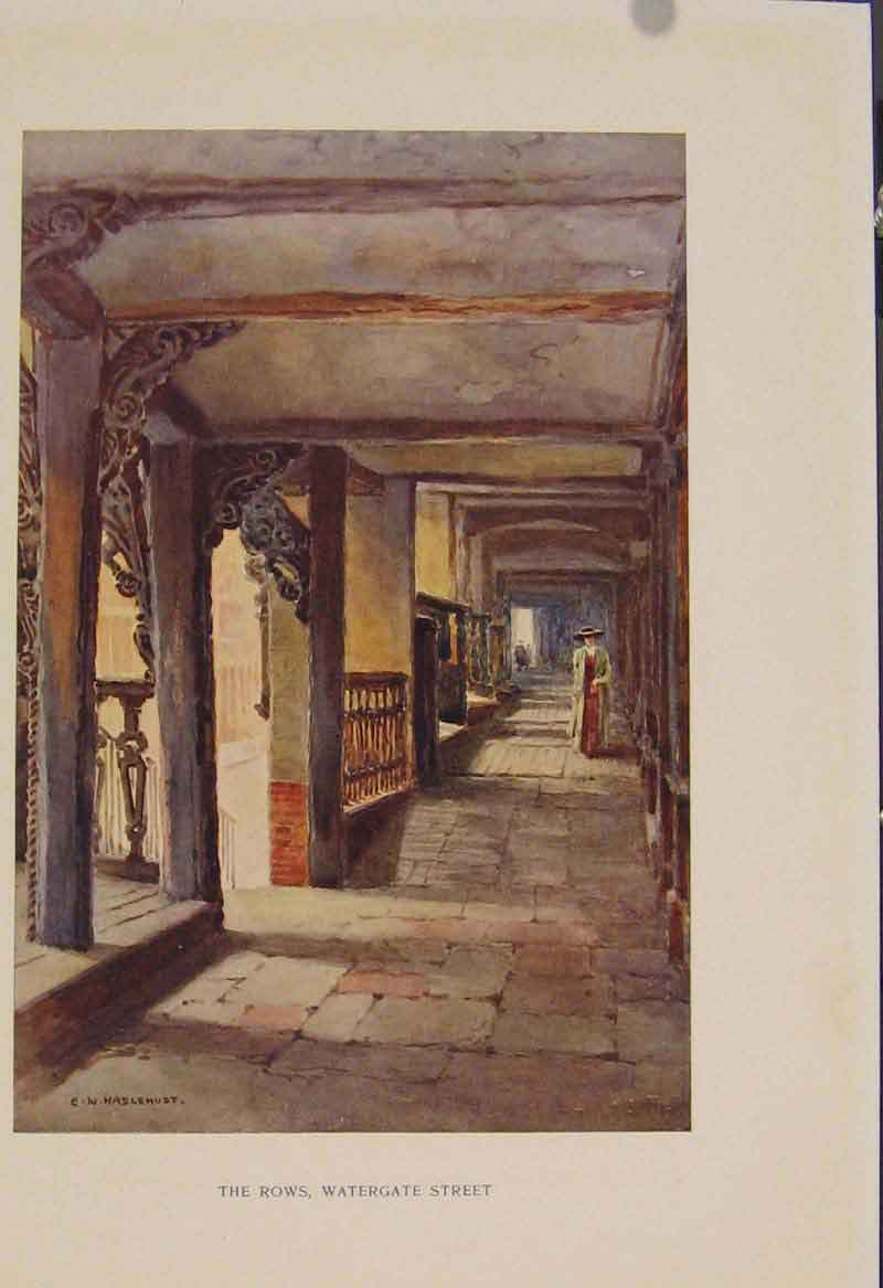 Print Painting By Haslehust Rows Watergate Street 389331 Old Original