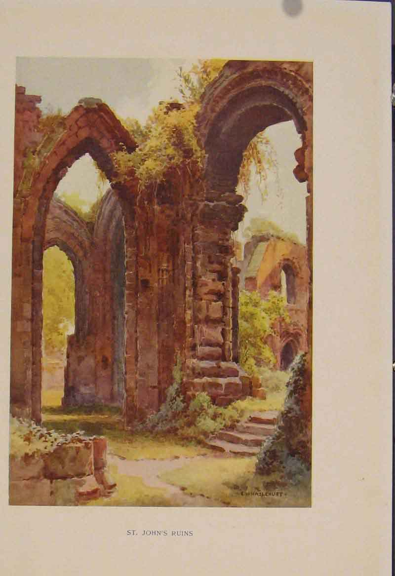 Print Painting By Haslehust St Johns Ruins 419331 Old Original
