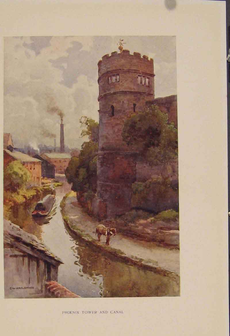 Print Painting By Haslehust Phoenix Tower And Canal 429331 Old Original