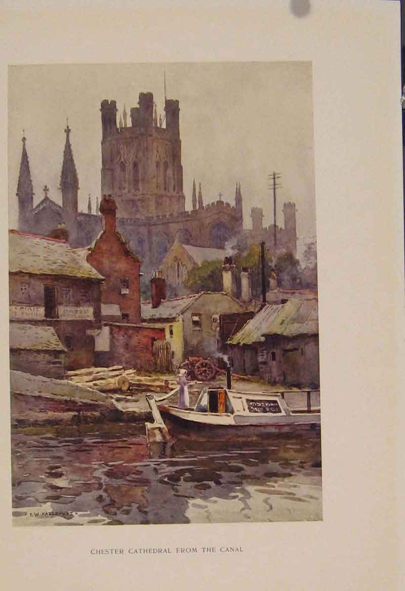 Print Painting By Haslehust Chester Cathedral From Canal 439331 Old Original