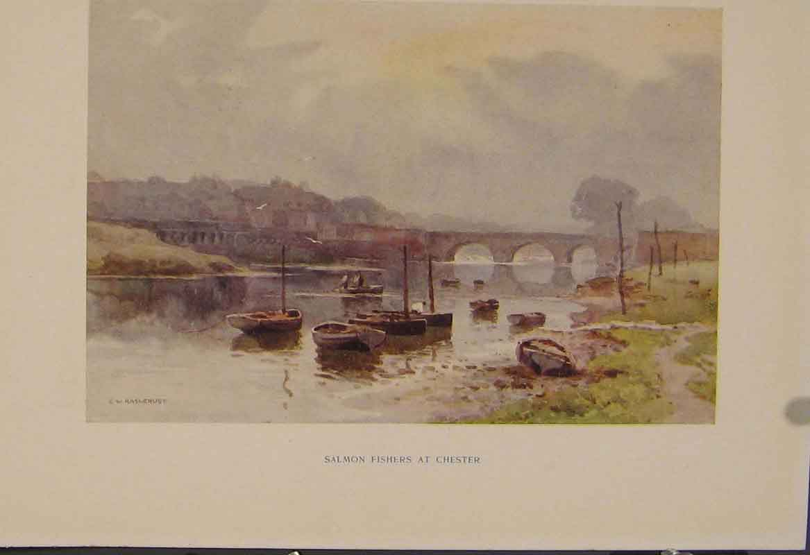 Print Painting By Haslehust Salmon Fishers At Chester 449331 Old Original
