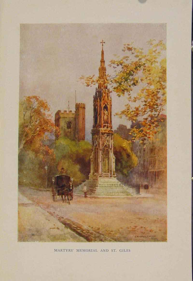 Print Painting By Haslehust Martyrs Memorial St Giles 509331 Old Original