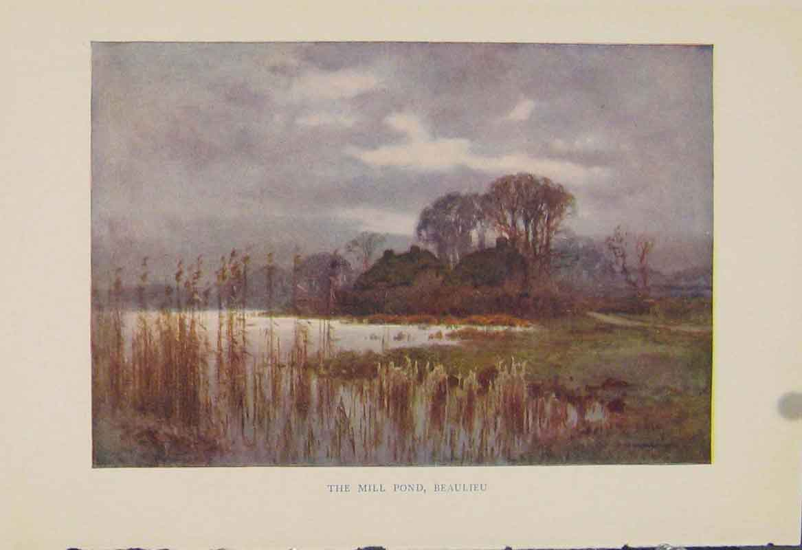 Print Painting By Haslehust Mill Pond Beaulieu 639331 Old Original