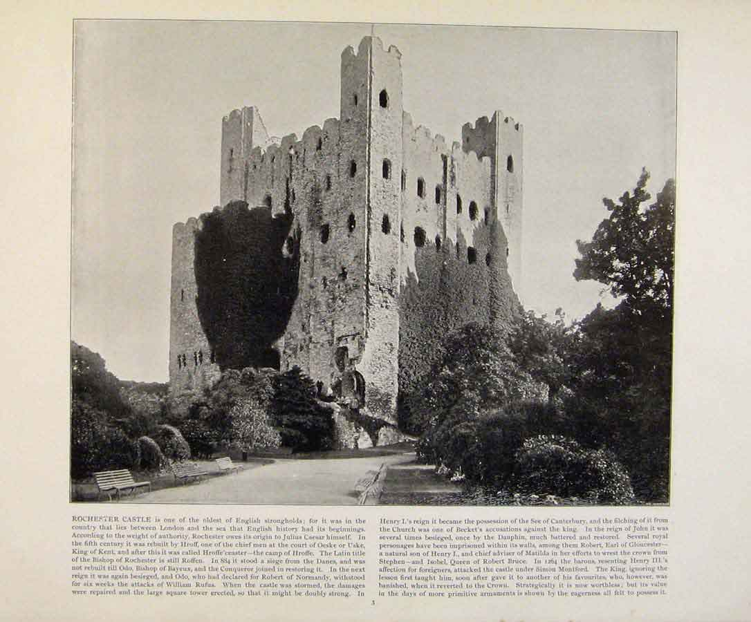 Print Beautiful Britain Early Photograph Rochester Castle 029361 Old Original