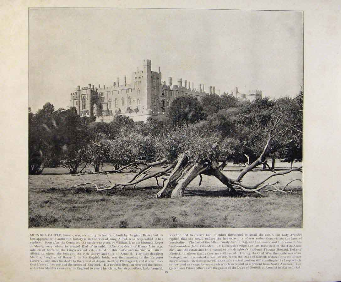 Print Beautiful Britain Arundel Castle Sussex Photograph 099361 Old Original