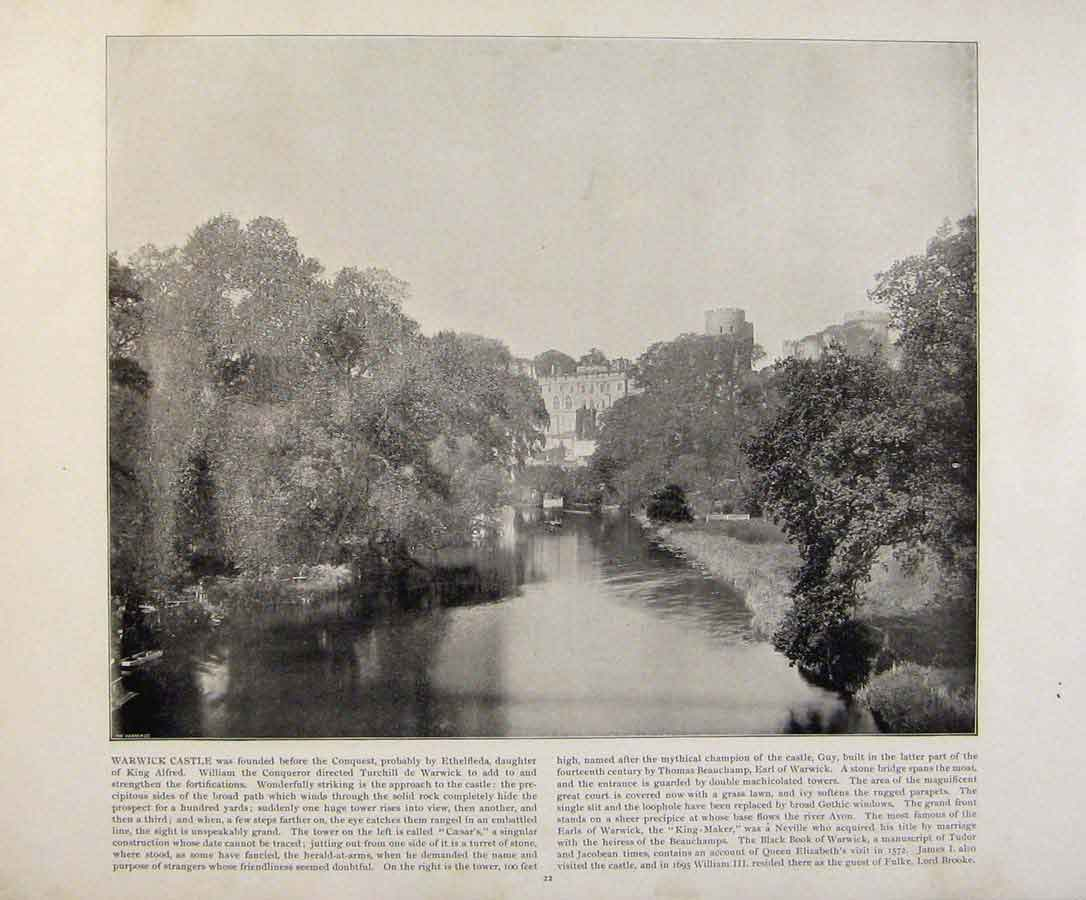 Print Beautiful Britain Warwick Castle Early Photograph 119361 Old Original