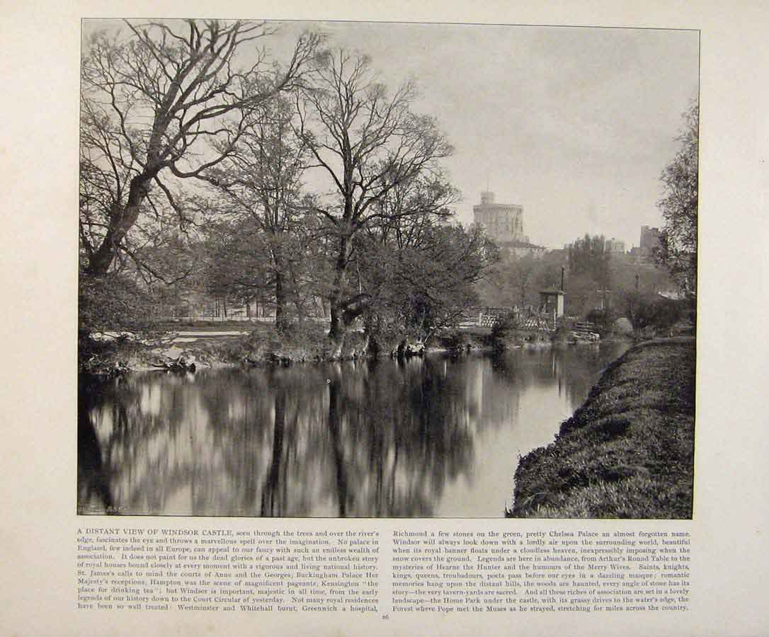 Print Beautiful Britain Distant View Windsor Castle 139361 Old Original