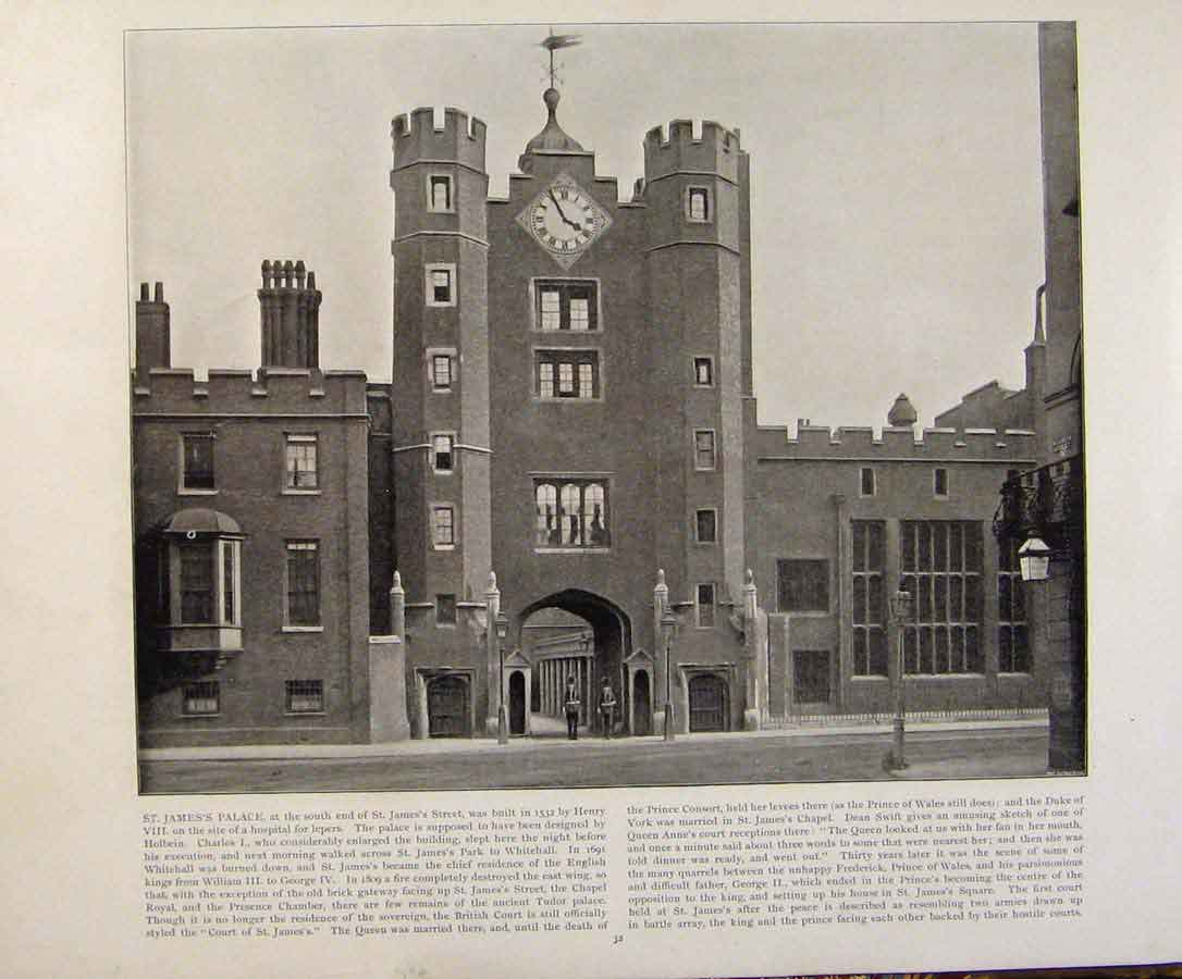 Print Beautiful Britain St James Palace Early Photograph 169361 Old Original