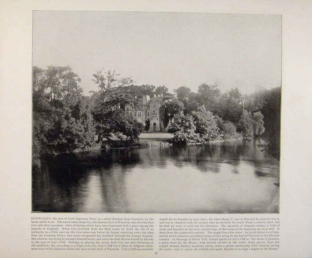 Print Beautiful Britain Guys Cliff Early Photograph 189361 Old Original