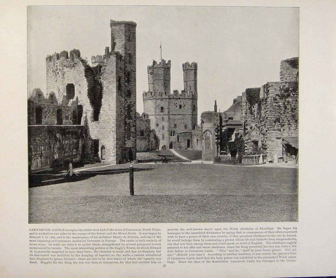Print Beautiful Britain Carnarvon Castle North Wales 199361 Old Original