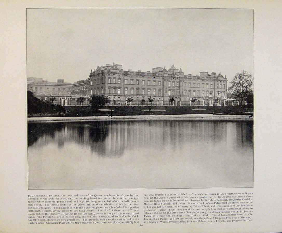 Print Beautiful Britain Buckingham Palace Residence Queen 309361 Old Original