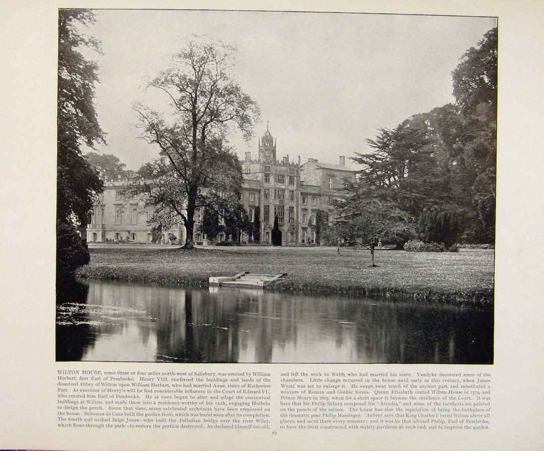 Print Beautiful Britain Wilton House Early Photograph Prnt 319361 Old Original