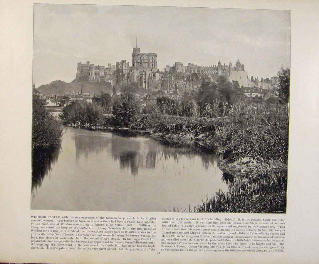 Print Beautiful Britain Windsor Castle Early Photograph 399361 Old Original