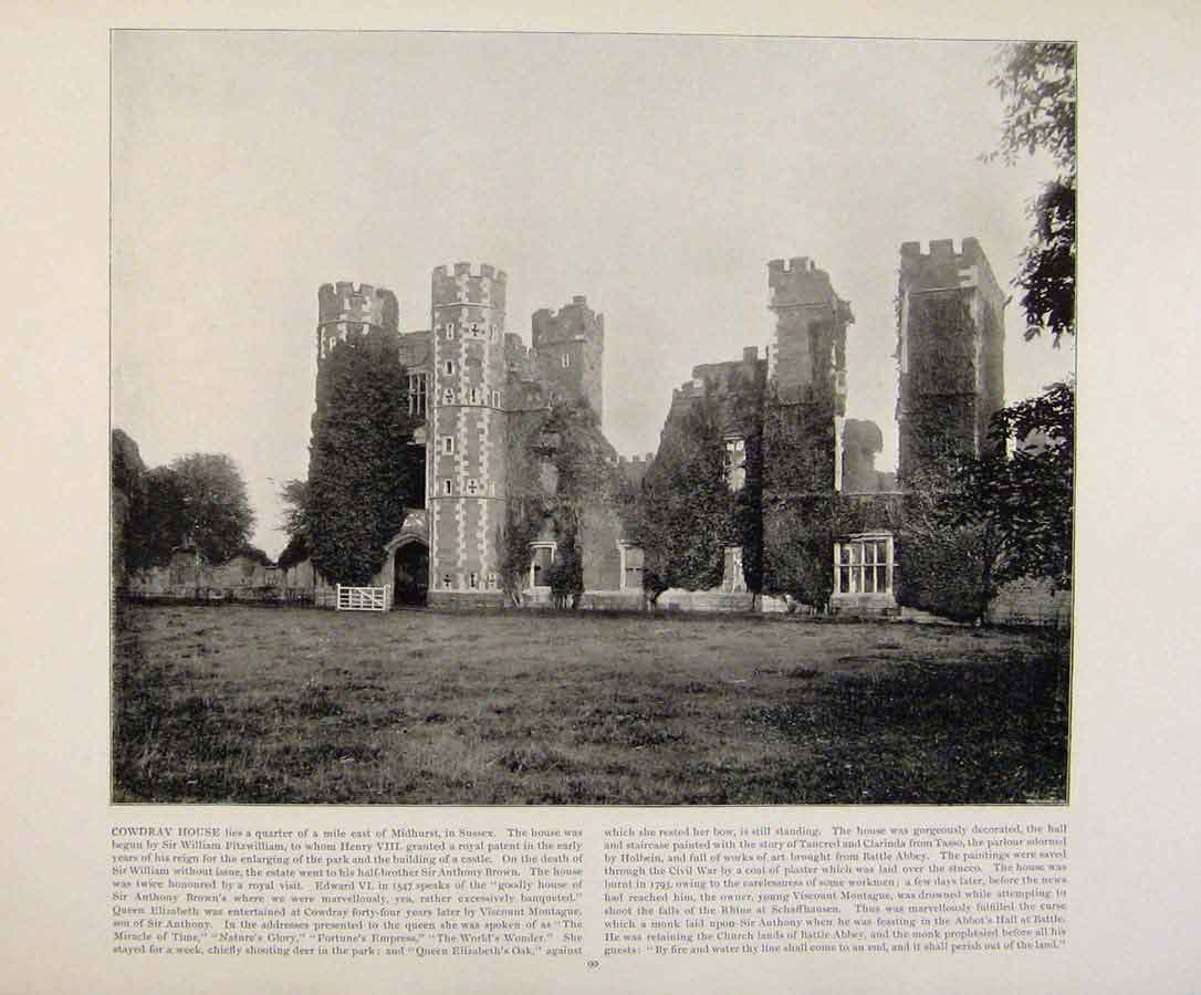 Print Beautiful Britain Cowdray House Early Photograph 459361 Old Original