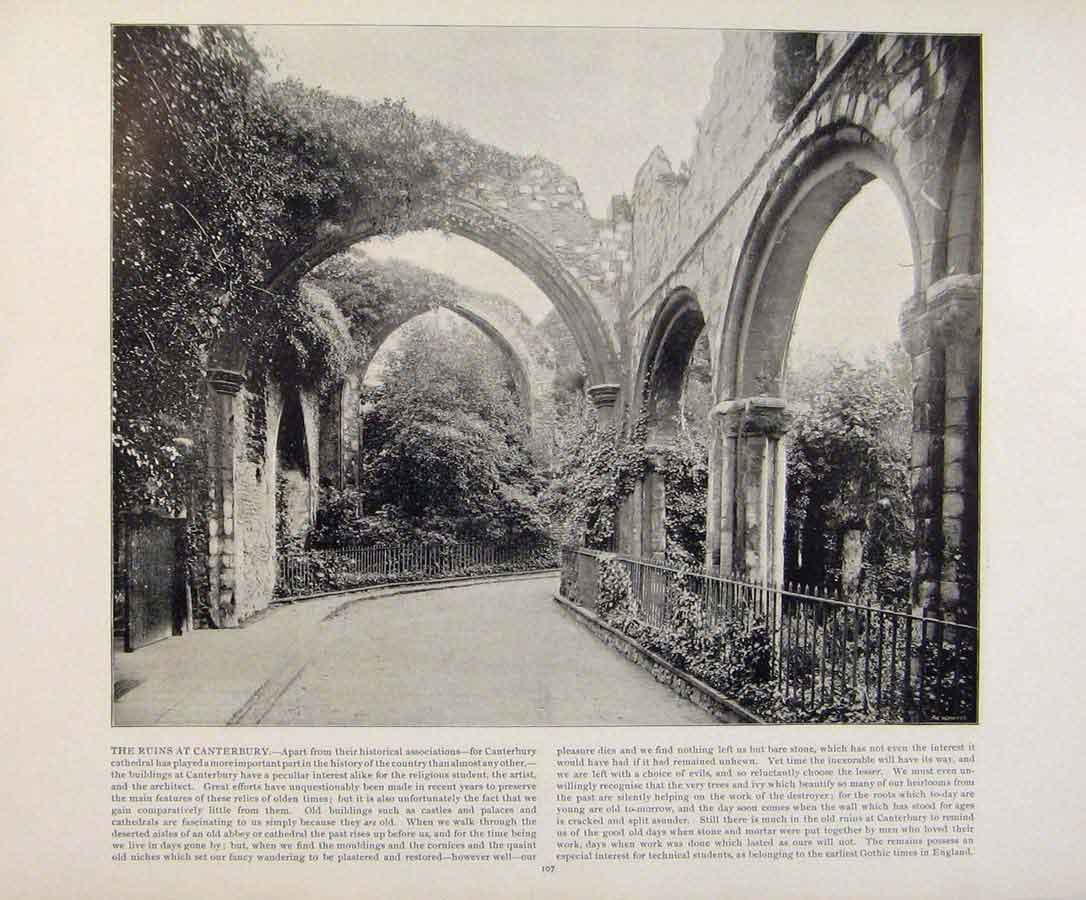 Print Beautiful Britain Ruins At Canterbury Early Photograph 549361 Old Original