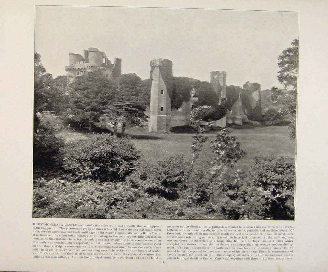 Print Beautiful Britain Hurstmonceaux Castle Early Photograph 629361 Old Original
