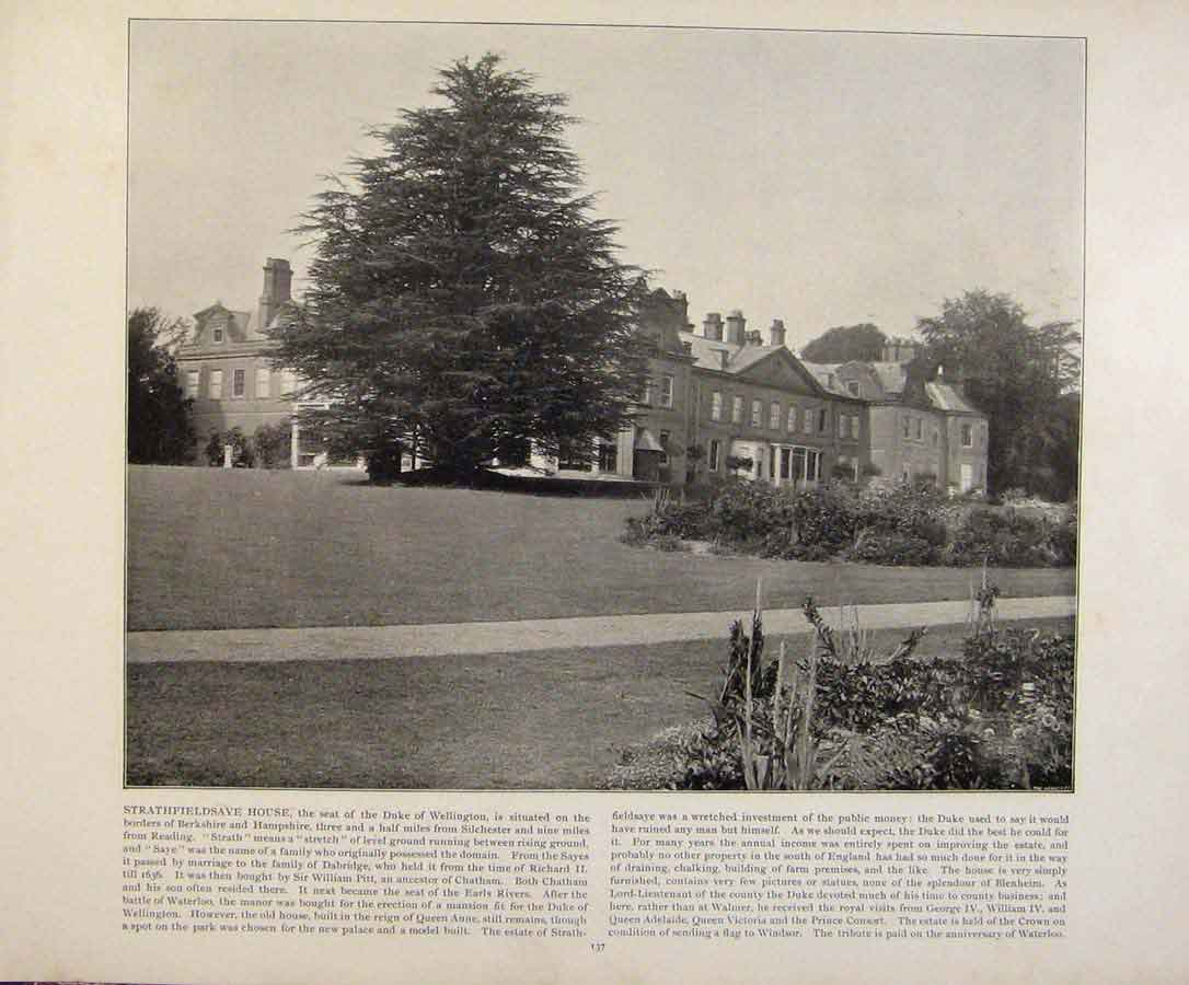 Print Beautiful Britain Strathfieldsave House Photograph 699361 Old Original