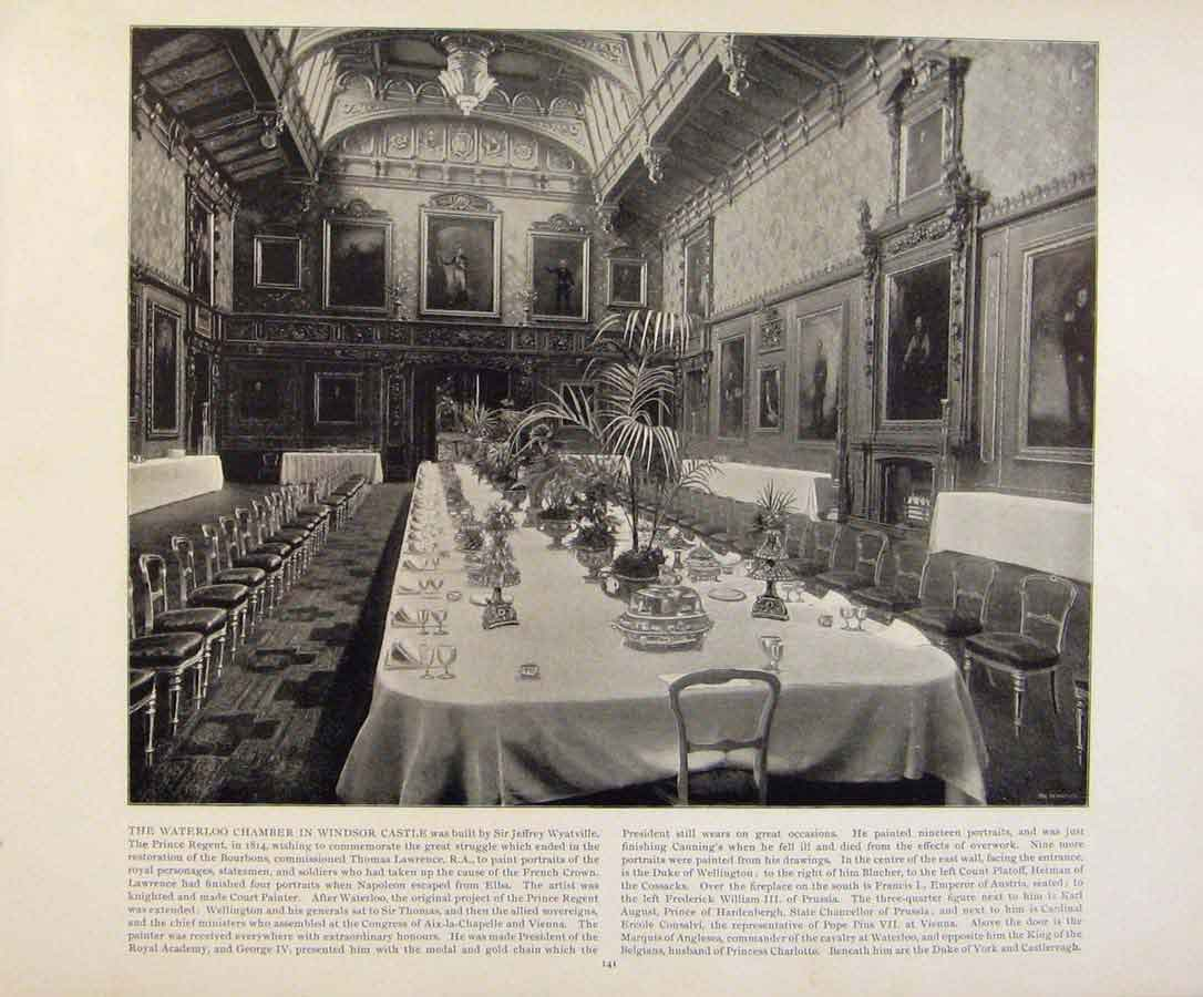 Print Beautiful Britain The Waterloo Chamber Windsor Castle 719361 Old Original