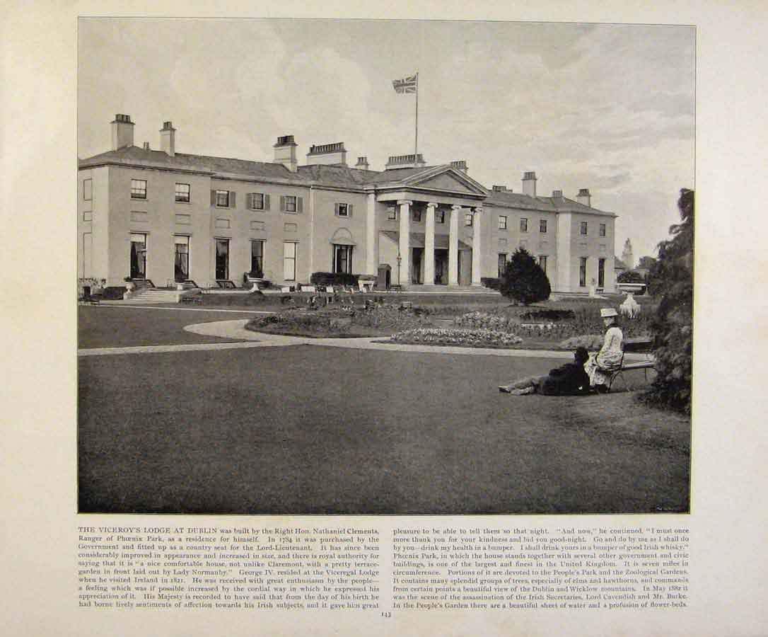 Print Beautiful Britain Viceroys Lodge At Dublin Photograph 729361 Old Original