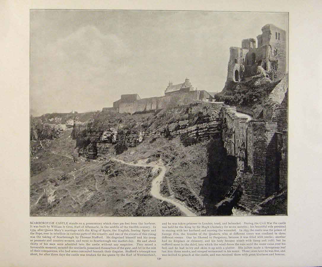 Print Beautiful Britain Scarborough Castle Early Photograph 759361 Old Original