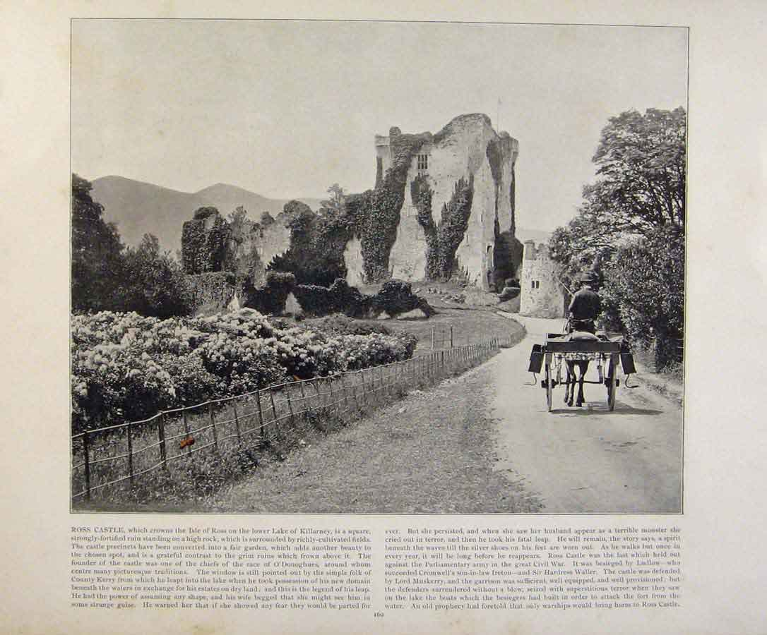 Print Beautiful Britain Ross Castle Early Photograph 809361 Old Original