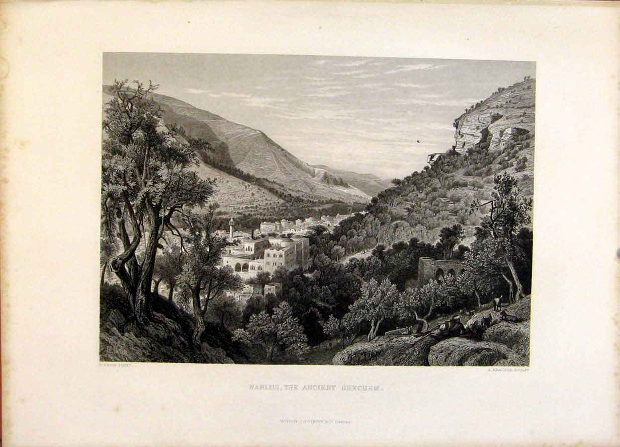 Print The Holy Bible Nablus The Ancient Shechem Engraving 099371 Old Original