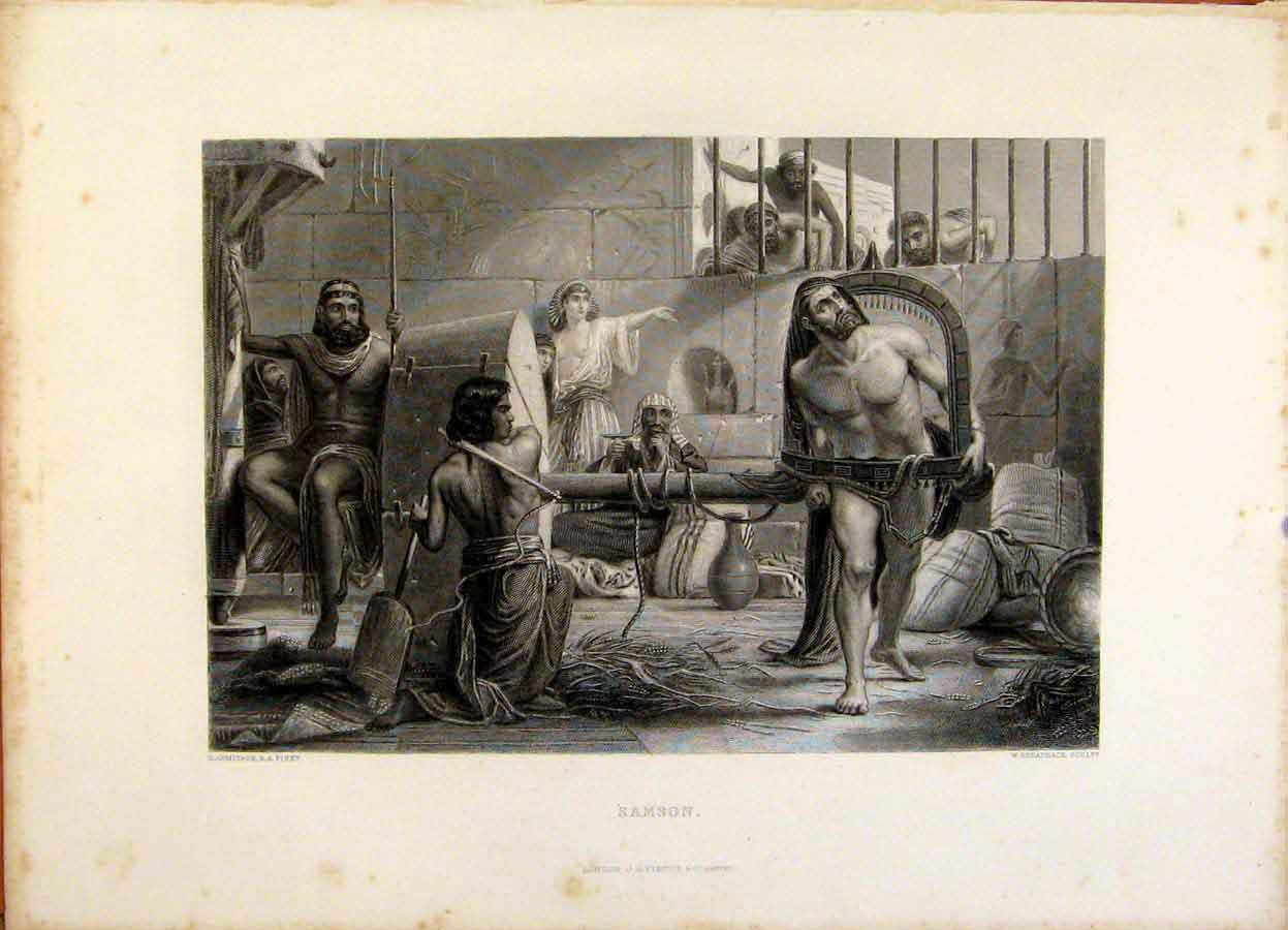 Print The Holy Bible The Cave Macpelah Steel Engraving 109371 Old Original