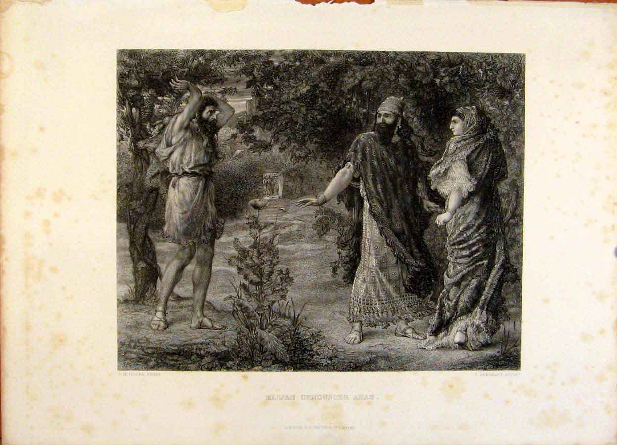 Print The Holy Bible Elijah Denounces Ahab Steel Engraving 149371 Old Original