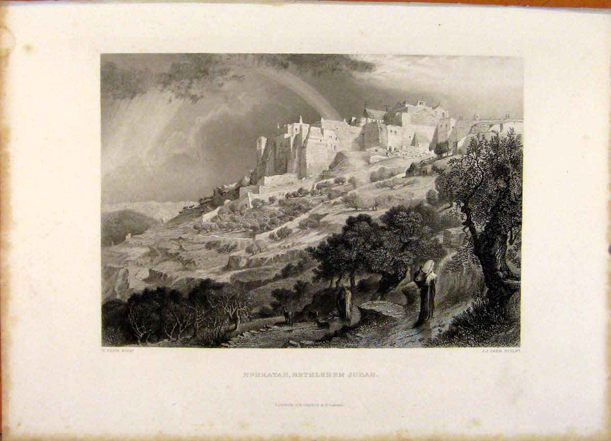 Print The Holy Bible Ephhratah Bethlehem Judah Engraving 219371 Old Original
