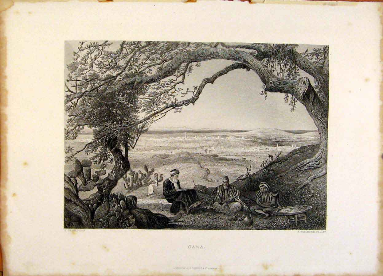 Print The Holy Bible Gaza Steel Engraving 289371 Old Original