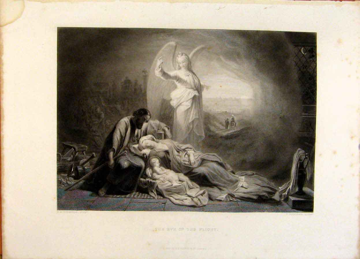 Print The Holy Bible The Eve The Flight Steel Engraving 309371 Old Original